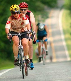 Kathy Rohr pedals to the Mountains of Misery finish